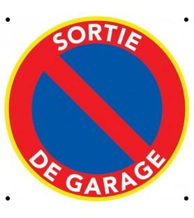 Panneau sortie de garage. Défense de stationner.