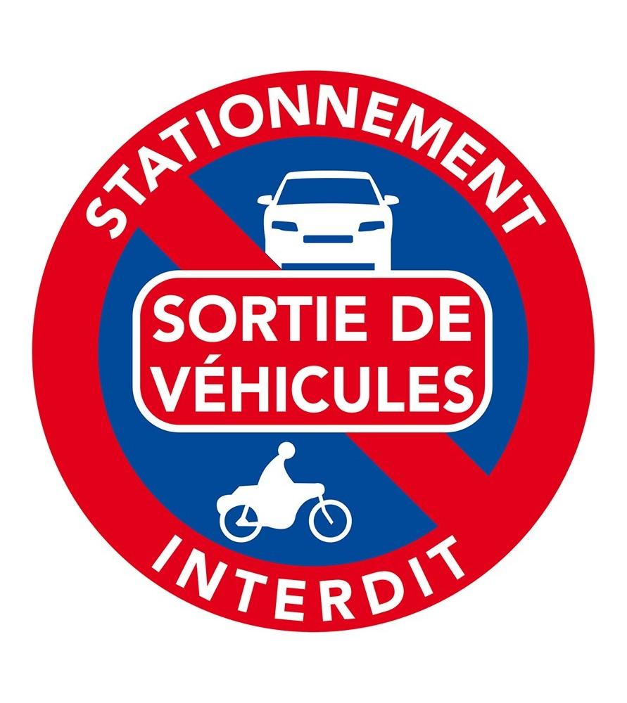 Autocollant interdiction de stationner devant une sortie de véhicule