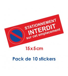 Pack de 10 stickers stationnement interdit